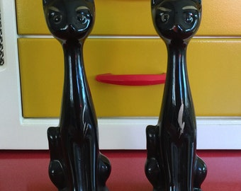 Pair of lucky long necked cats, scoop head vases. 1950s kitsch, atomic.