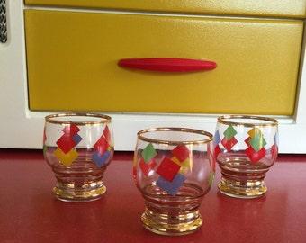 1950s harlequin atomic style shot glasses.