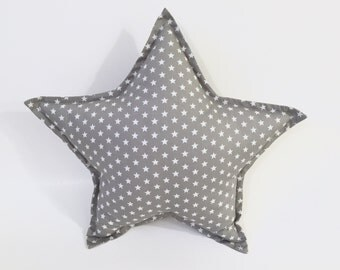 Gray Star Pillow | Star Cushion | Decorative Star | Nursery Decor | Baby Pillow | Room Decor | Grey & White Star Pillow