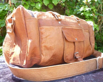 SALE Gym bag/ duffle bag/ weekend bag made from natural goat leather