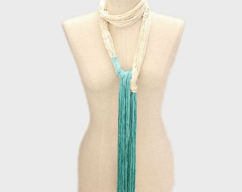 Mint & Ivory Ombre Tie Dyed Skinny Fringe Rope Scarf