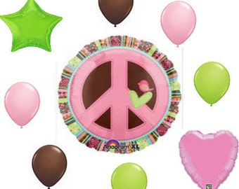9 pc Hippie Chick Peace Sign Balloon Bouquet