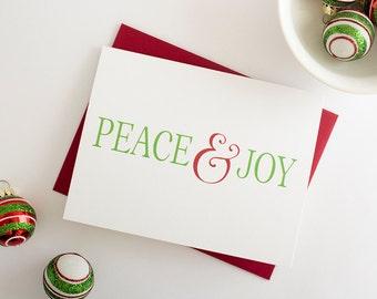 Holiday Greeting Card, Boxed Set // Christmas Card // Peace & Joy Card // Holiday Card // Merry Christmas Card // Happy Holidays Card