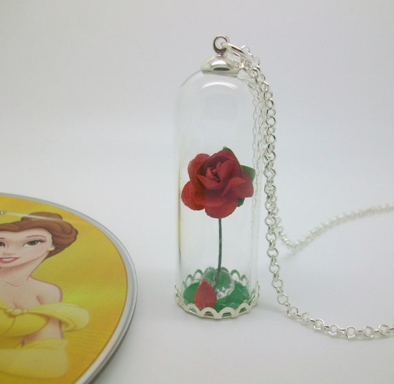 the enchanted rose glass dome necklace with paper rose. Black Bedroom Furniture Sets. Home Design Ideas