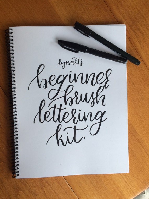 Beginner brush lettering kit calligraphy workbook by lyssarts