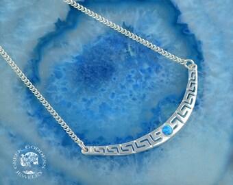 greek key opal silver chain necklace, greek key necklace, greek key, opal necklace, meander necklace, blue opal necklace, chain necklace