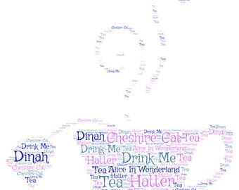 Alice in Wonderland Word Cloud Print