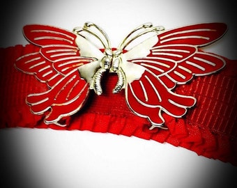 vintage red butterfly belt buckle with red stretch belt