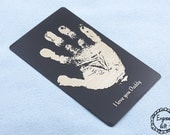 Baby Footprint, HandWriting, Text Custom Laser Engraved Steel Wallet Insert card, for your family Gift - WorldWide Shipping