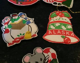 Set of 5 Vintage Christmas Refrigerator Magnets/Fabric/Quilted Magnets/Kitschy Christmas/Embroidered