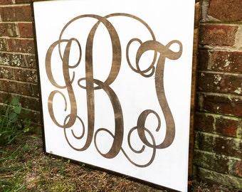 25x25 Wood Monogram Canvas