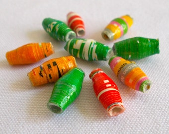 African Dodo Recycled Paper Beads 1 cm 10 pack - Fair Trade from Mzuribeads Uganda
