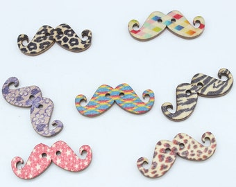 Wooden Moustache Buttons - Set of 10 Moustache Crafting Sewing Buttons