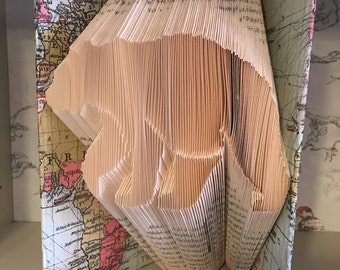 Folded book art bear pattern