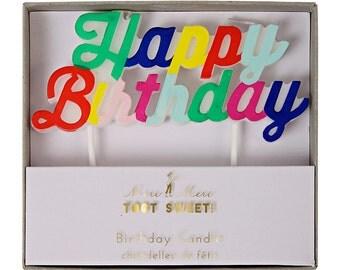 HAPPY BIRTHDAY candle.  Birthday candles.  Happy birthday cake topper.  Birthday cake decorations.  Birthday party decor. Cupcake topper