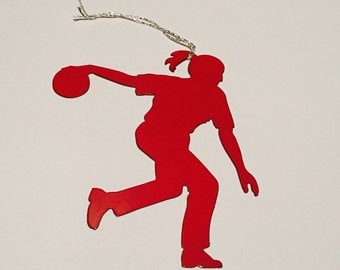 Bowling player ornament or magnet
