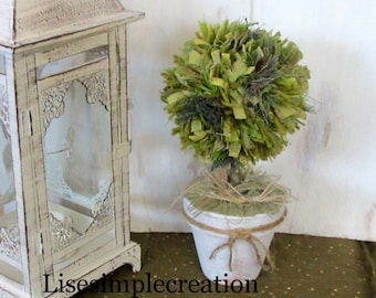 Small topiary balls, Shabby chic topiary,Mantel decorations,French country decor, Country decor, Cottage chic decor