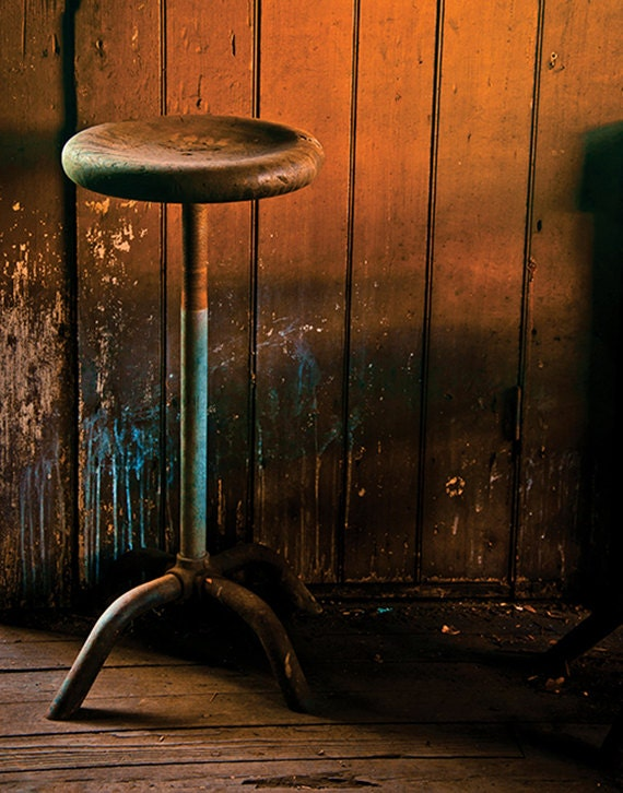 Foundry, Stool, Wood Print, Abandoned, Rust, Wall Art, Pittsburgh, Pennsylvania, Industrial, Machine Shop