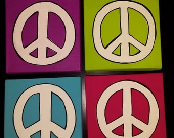 Peace Sign Canvas  Set of 4