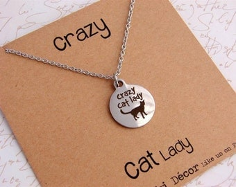 Crazy cat lady. Personalised inspirational necklace with sentiment card. Moki Decor