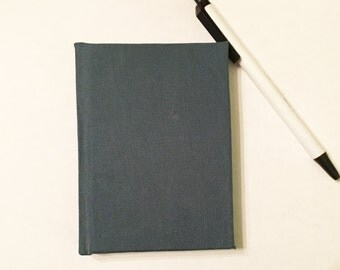 Beautiful Blue Cloth Small Blank Hardcover Notebook Sketchbook Journal - Handmade Hand bound Book