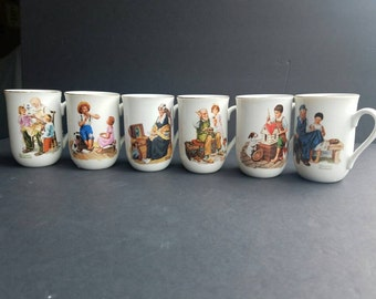 Norman Rockwell Museum Mugs Set of 6, Vintage 80's Mug Set