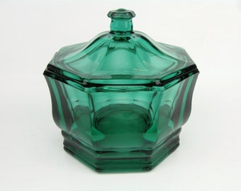 Vintage Indiana Glass Teal Green Glass Covered Candy Dish~Mid Century Modern Home Decor~Retro Octagon Teal Glass Candy Box with Lid~MCM