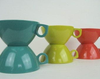 Six Melamine Melmac Coffee Cups Coffee Mugs~Retro Orange Turquoise Yellow Kitchen Mugs Cups~Azted Melmac Retro Mid Century Kitchen Kitsch