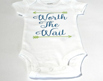 Personalized Worth The Wait Arrows Bodysuit, Baby Shower Gift Idea, Newborn Gift Ideas, Baby Clothing, Gender Neutral Babywear, Rainbow Baby