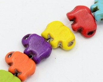 Multi Colored Howlite Elephant Beads 14x10mm (16 inch strand)