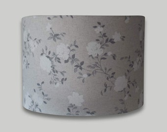 Grey White Trailing Rose Floral Drum Lampshade Lightshade Lamp Shade 20cm 25cm 30cm 35cm 40cm 50cm 60cm 70cm