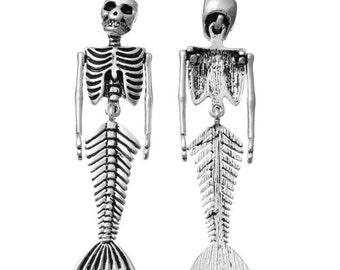 Mermaid Skeleton Necklace, Mermaid Pendant Necklace, Pendant Necklace