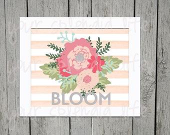 Spring Floral and Stripes Easter Bloom Digital Print 10 x 8