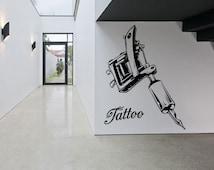 Removable Vinyl Sticker Mural Decal Wall Decor Poster Tattoo Parlor Gun Machine Salon Logo Sign Studio Indoor Outdoor Business Ink SA1159