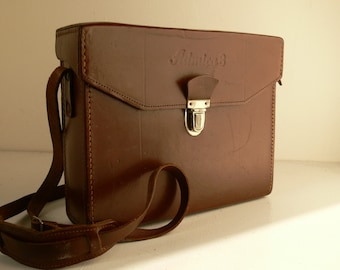 Vintage Admira 8 Tan Leather Cine Camera Bag / Case - Perfect For Kindles, Small Tablets & I Pads