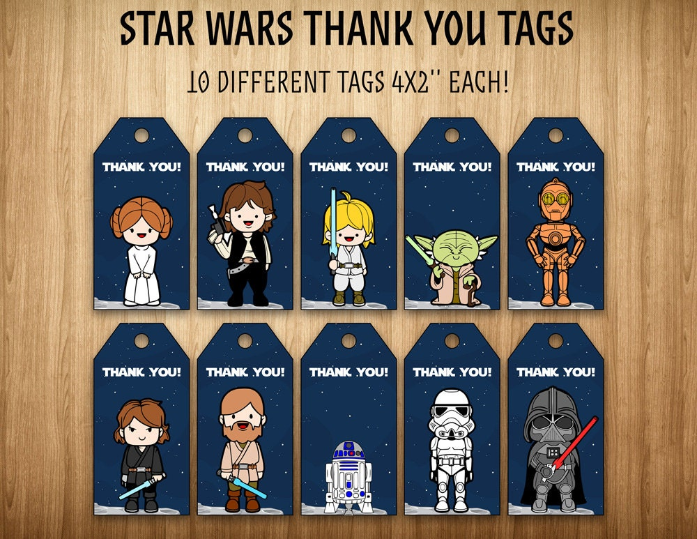 Star Wars thank you tags Star Wars party by SuperInstantParty