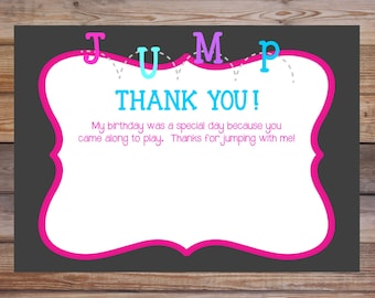 Jump Thank You Note, JumpThank You, Bounce Thank You note , Bounce Custom Thank You Note, Bounce Party, Bounce House Party