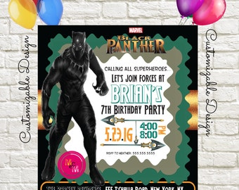 Black Panther Birthday Party Invitation Printable, DIY Print, Print at Home Invite, #marvelblackpanther AD3360