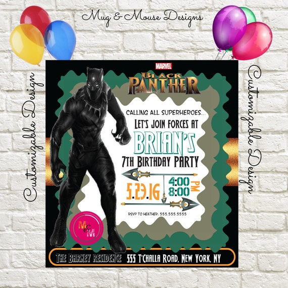 Black Panther Birthday Party Invitation Printable Diy Print