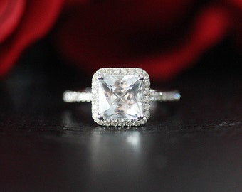 14K White Gold 7mm Princess Cut White Topaz Engagement Ring Stackable / Unique Wedding Ring White Topaz Ring / Promise Ring/Anniversary Ring