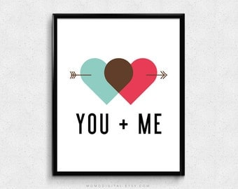 SALE -  You Plus Me, Couple Love Quote Print, Heart Connection, Arrow Poster, Modernism, Red Teal, You And Me Quote, Anniversary