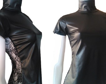 New collection, well fitting strech, black, short-sleeved turtleneck extravagant blouse, top, t-shirt, lace back