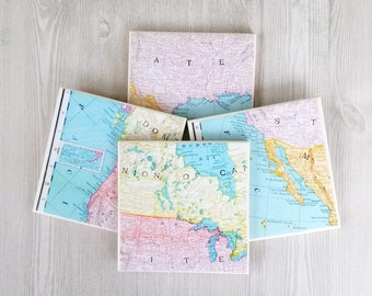 Travel Coasters Map Tile Coasters Map Print Teacher Gift for Teacher Graduation Gift for Graduate Student Gift for Student Classroom Map - 4