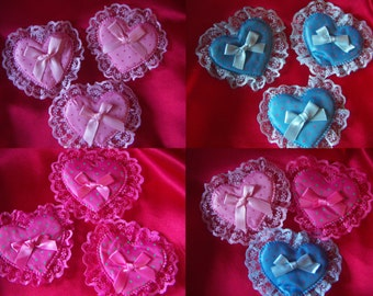 3 pcs  Large Heart Applique  Padded Hearts  Pink Blue Fuchsia With Satin Ribbon And Lace Hearts Valentine Wedding Hearts