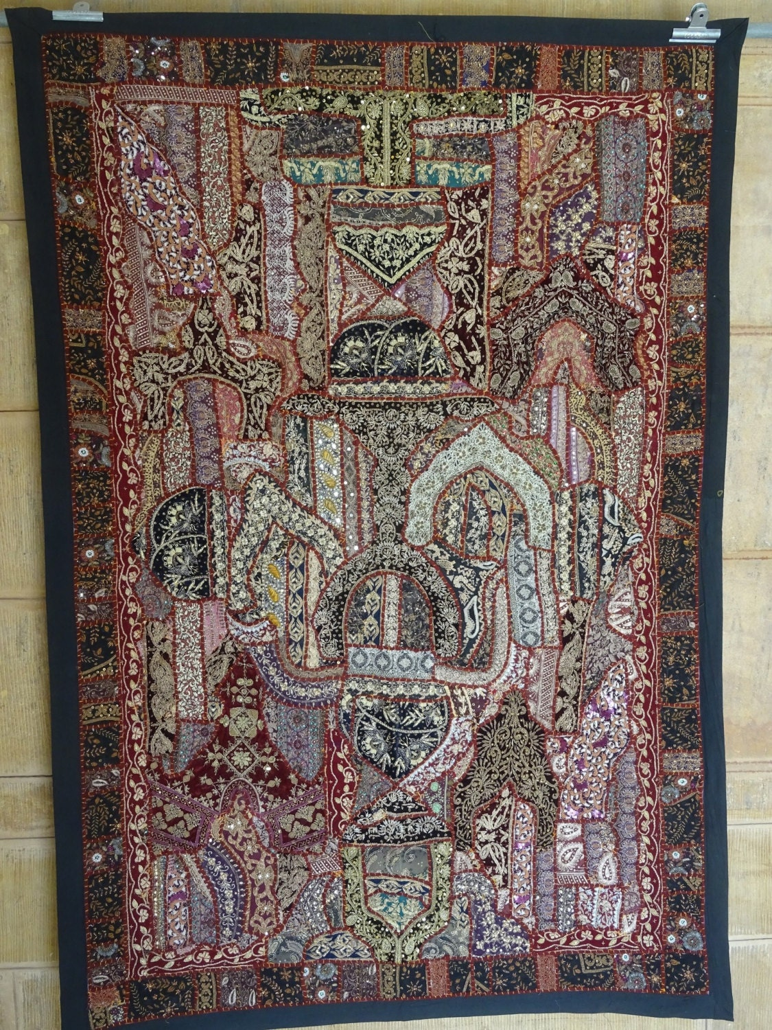 Vintage Tapestry Indian Indian Sari Patchwork Wall Hanging