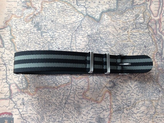 Nato Watch Strap / Nato Watch Band 20mm / 22mm, Nylon, Gray / Black, Special brushed hardware  / Free Shipping