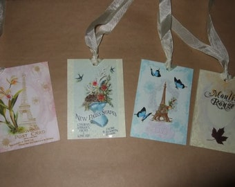 FOUR Shabby Chic French Paris Hang / Gift Tags