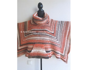 PATR1088 - Xyra Crochet-pattern - Square/straight poncho with pocket and loose cowl - (Dutch & English-US)
