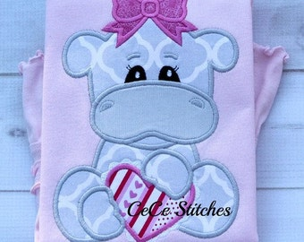 Hippo Love Shirt Embroidered Toddler T-shirt, Embroidered T-shirt