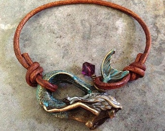 Bohemian 'Mermaid Magic' Bracelet in Verdigris (aqua green) Patina